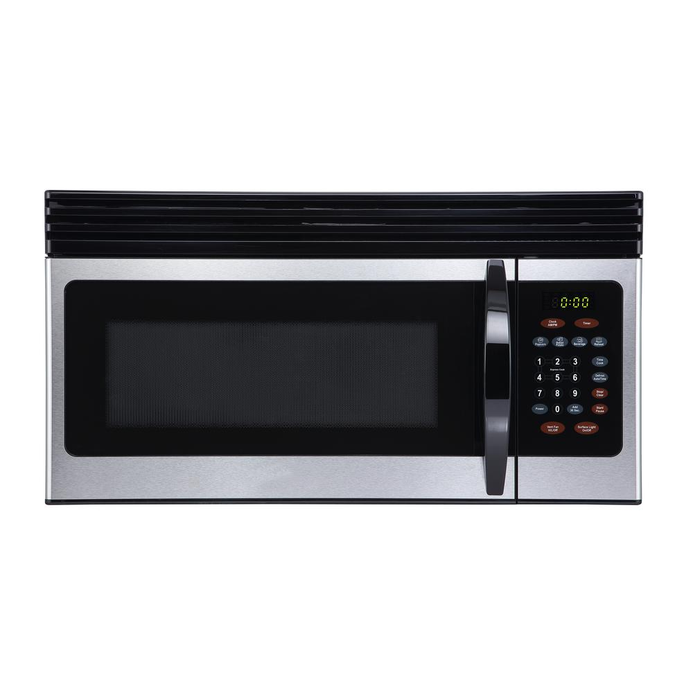 BLACK+DECKER 1.6 cu. Ft. Over-the-Range Microwave with Top Mount Air Recirculation Vent in Stainless Steel
