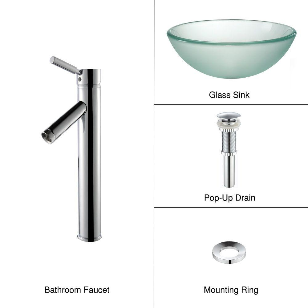 KRAUS Frosted Glass Vessel Sink in Clear with Single Hole Single-Handle High-Arc Sheven Faucet in Chrome
