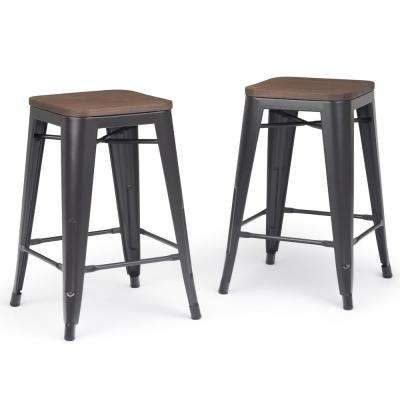 Everett 24 in. Cocoa Brown Industrial Metal Counter Stool with Wood (Set of 2)