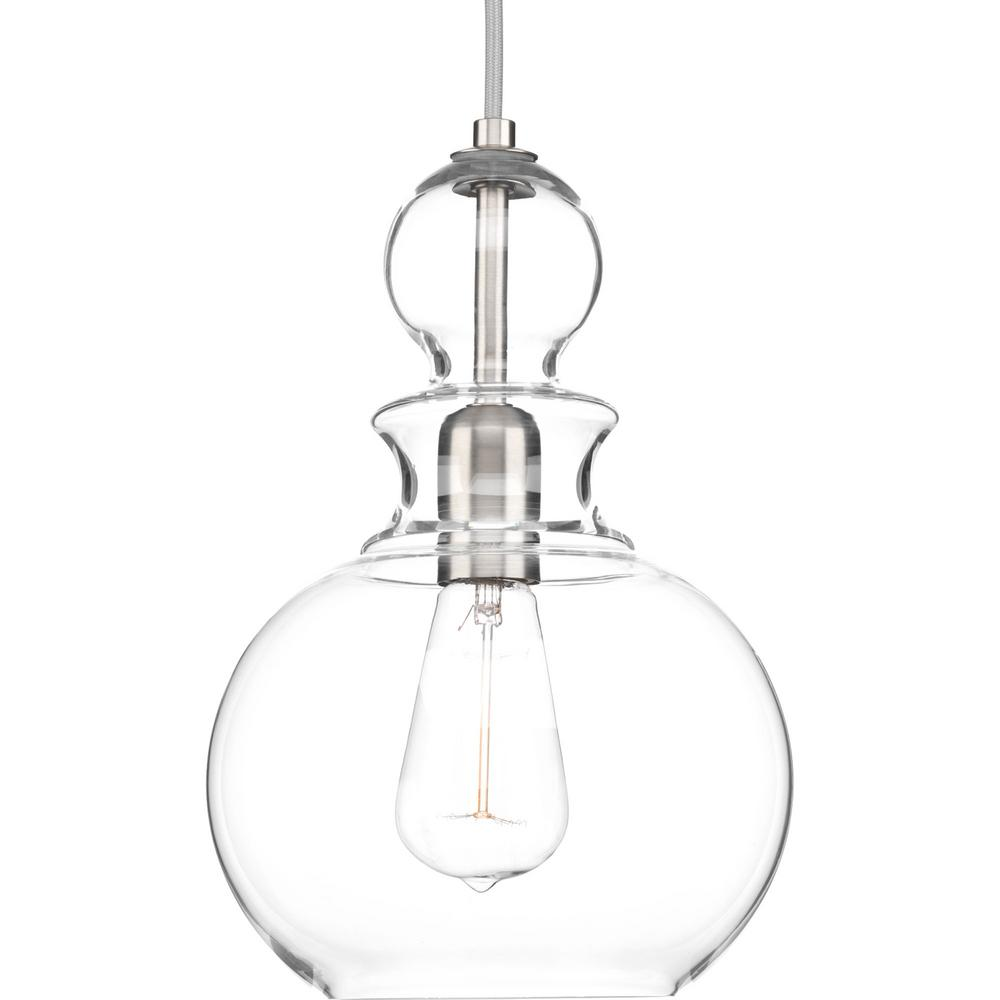 Progress Lighting Staunton Collection 1 Light Brushed Nickel Pendant With Clear Gl