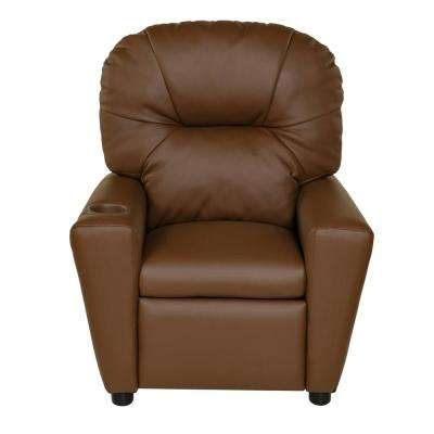 Brown Youth Recliner with Cup Holder and Dual USB