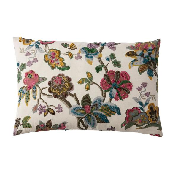 Embroidered Red Floral 16 in. x 24 in. Decorative Throw Pillow Cover