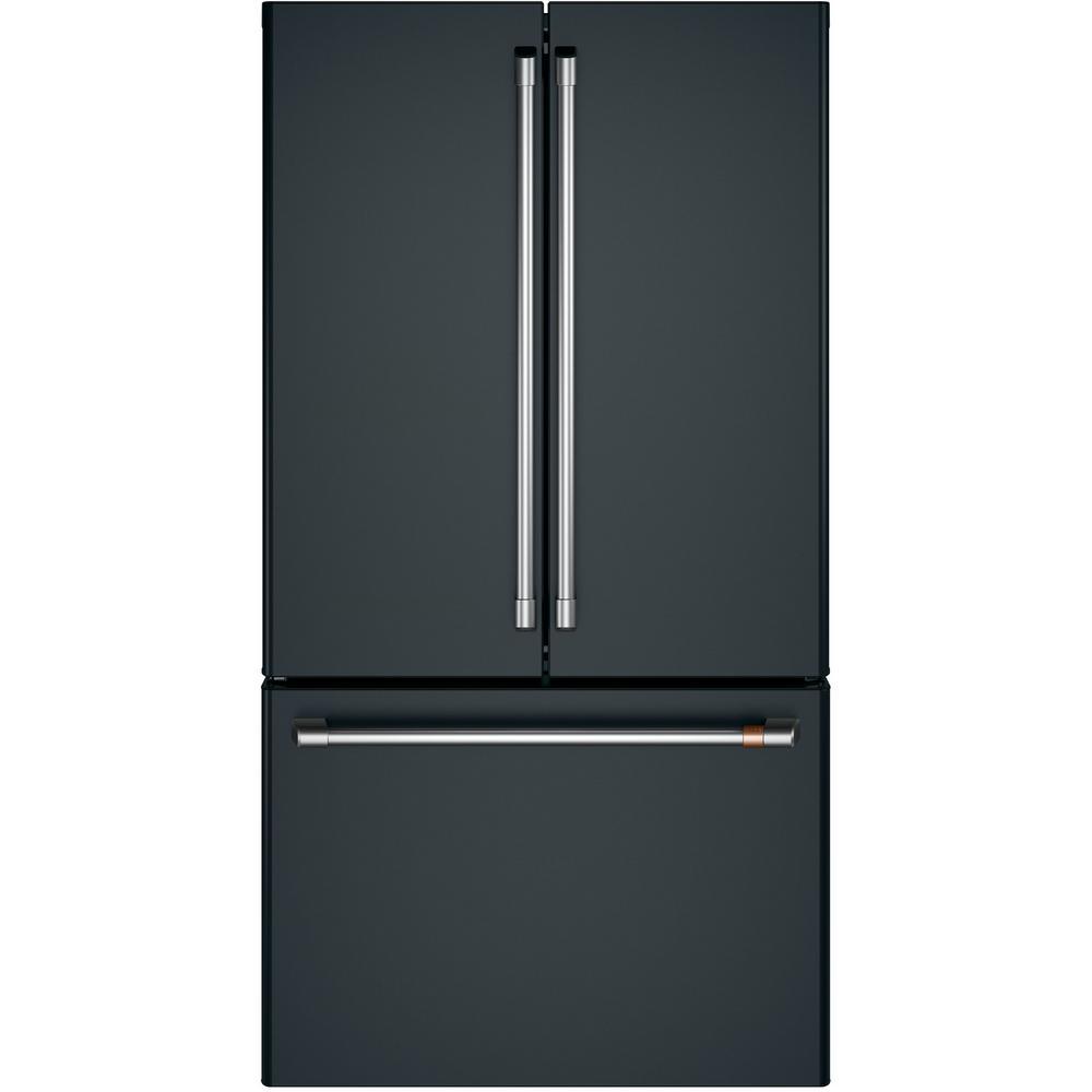 Cafe 23.1 cu. ft. Smart French Door Refrigerator in Matte Black, Counter Depth and Fingerprint Resistant
