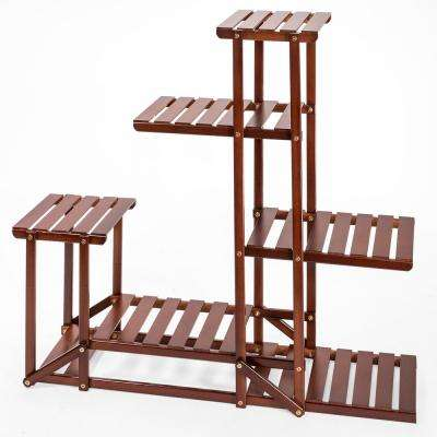 40 in. x 10 in. x 38 in. Multi-Tier Antique Brown Bamboo Wood Shelf Rack Outdoor Plant Stand