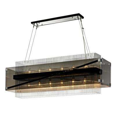 Apollo 12-Light Dark Bronze and Polished Chrome 49 in. W Chandelier with Plated Smoked Glass with Clear Glass Rods