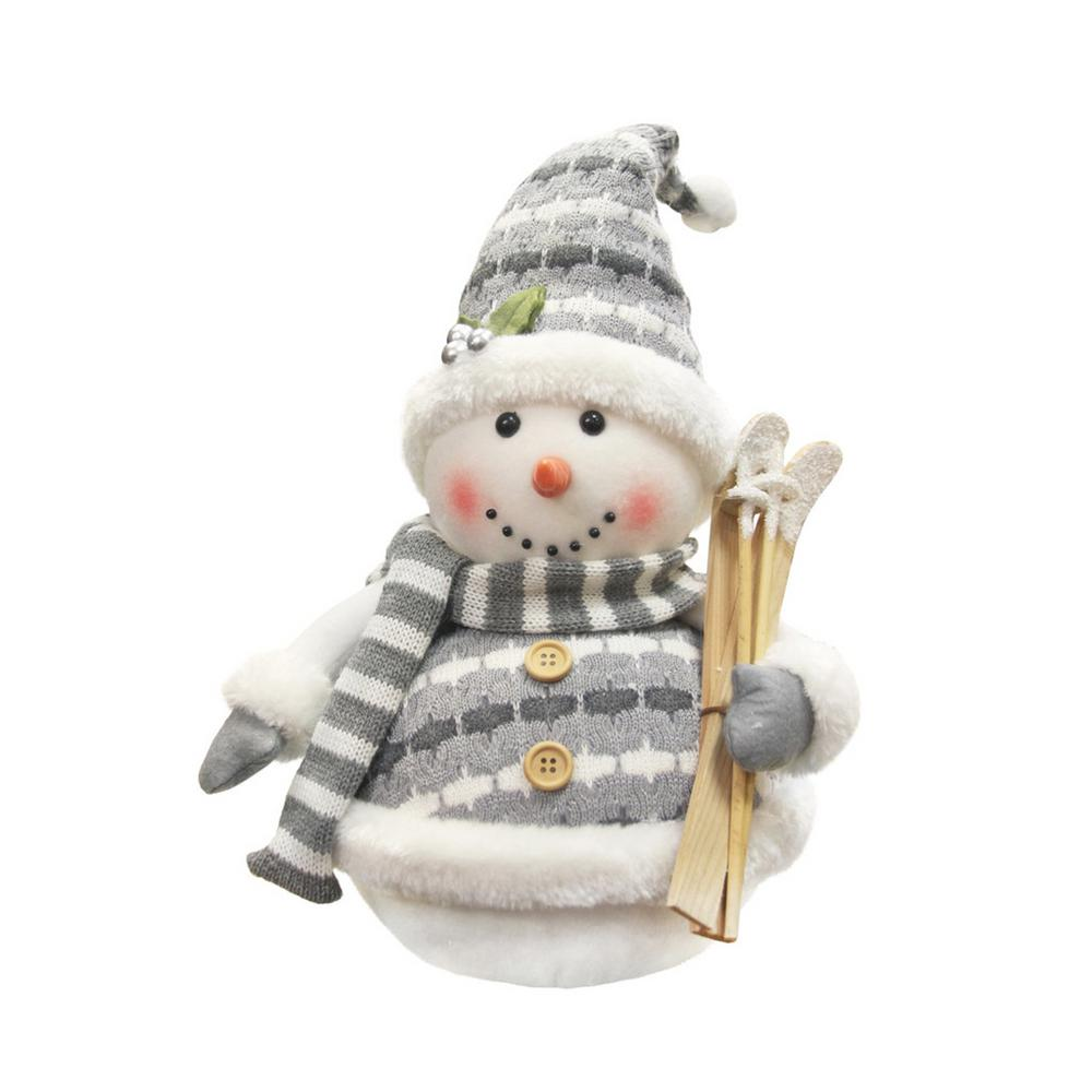 12 in. Alpine Chic Gray and White Sparkling Snowman with Skiis