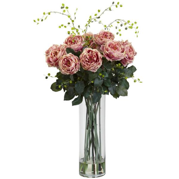 Nearly Natural 32 in. Giant Fancy Rose and Willow Arrangement in Pink