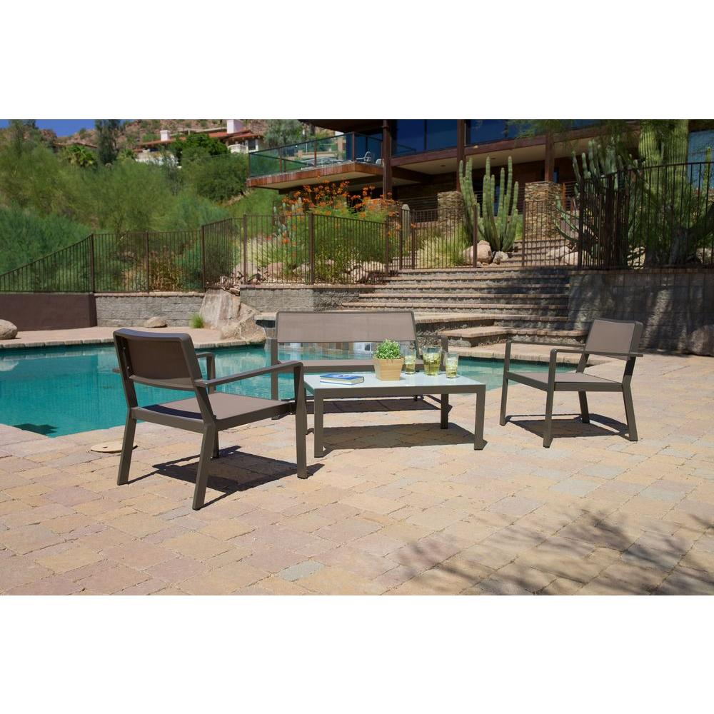 RST Brands Sol Sling Taupe 4-Piece Patio Seating Set