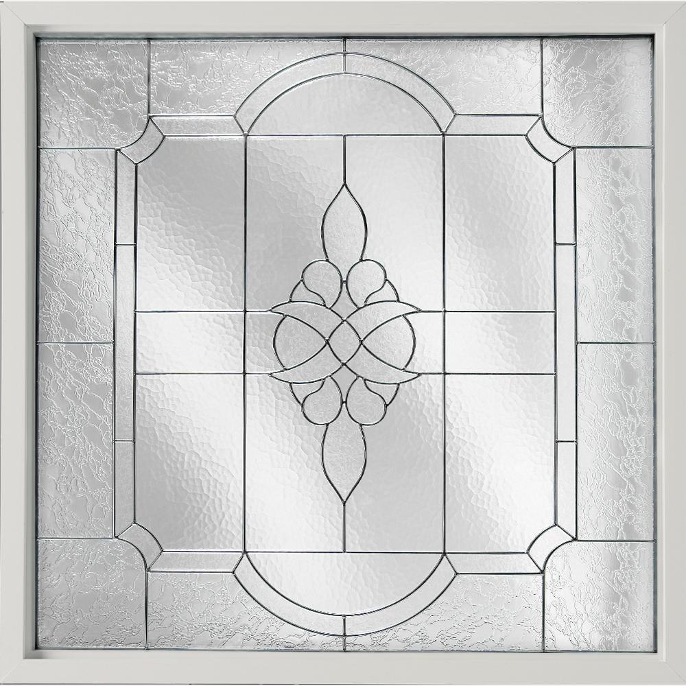 Hy-Lite 25 in. x 25 in. Decorative Glass Fixed Vinyl Glass Block Window in White