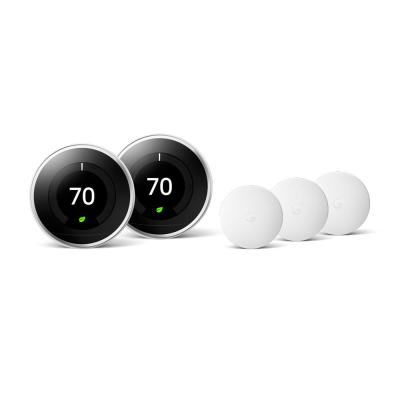 Nest Learning Thermostat 3rd Gen in Polished Steel (2-Pack) and Google Nest Temperature Sensor (3-Pack)