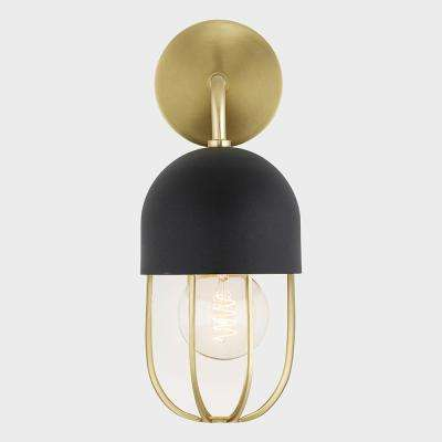 Aiden 1-Light Aged Brass Wall Sconce with Black Accents