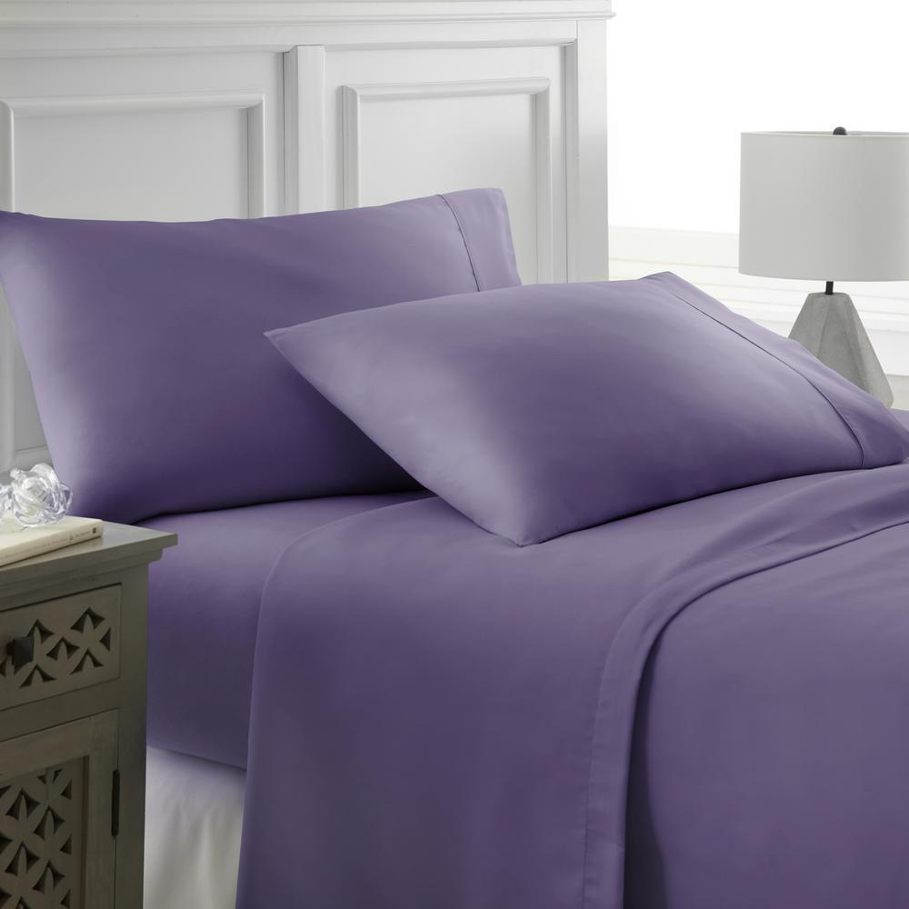 Performance Purple Queen 4-Piece Bed Sheet Set