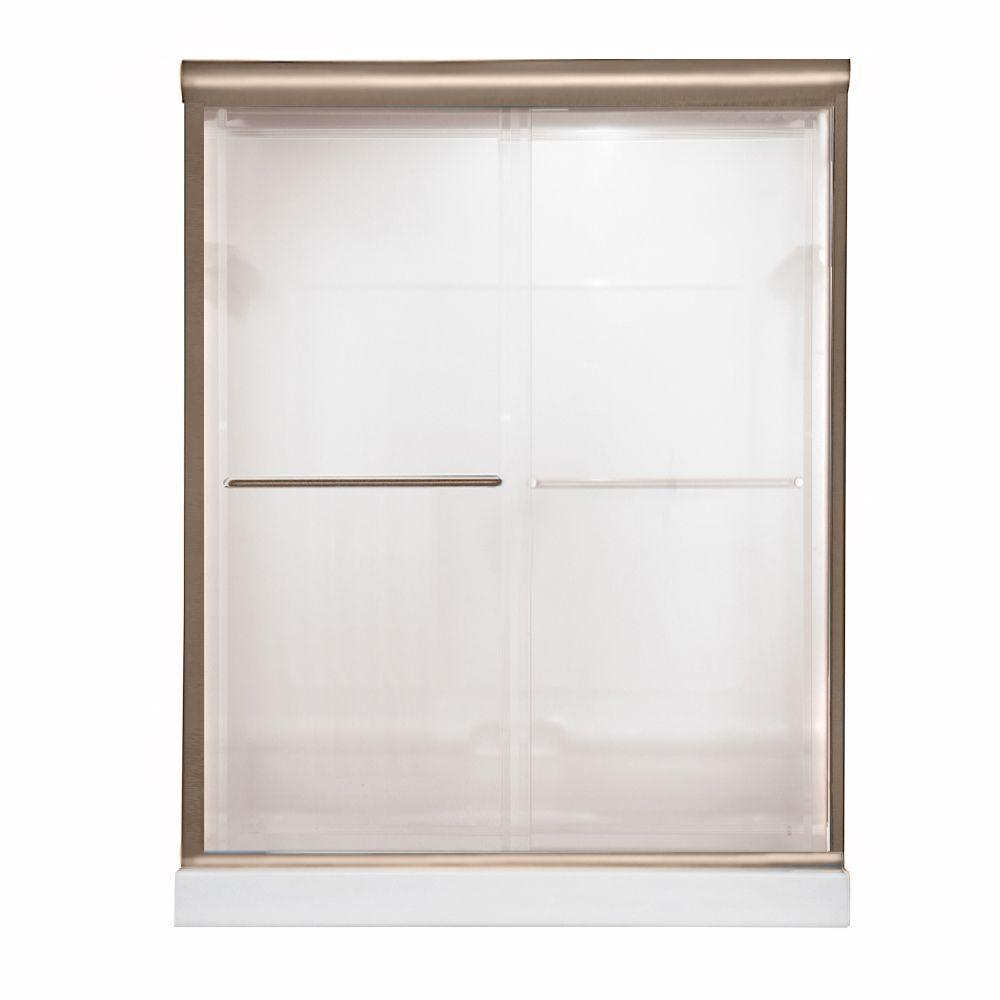 American Standard Euro 48 in. W x 70 in. H Semi-Framed Bypass Shower Door in Brushed Nickel Finish with Bistro Glass