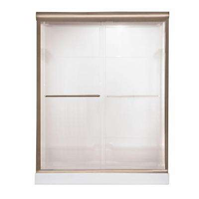 Euro 48 in. W x 70 in. H Semi-Framed Bypass Shower Door in Brushed Nickel Finish with Bistro Glass