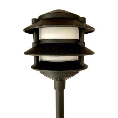 Low Voltage Black Outdoor Landscape 3-Tier Pagoda Pathway Light