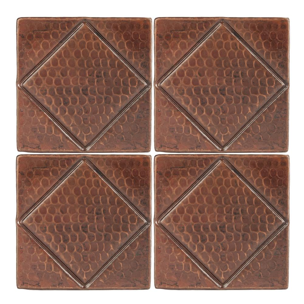 - Premier Copper Products 4 In. X 4 In. Hammered Copper Decorative