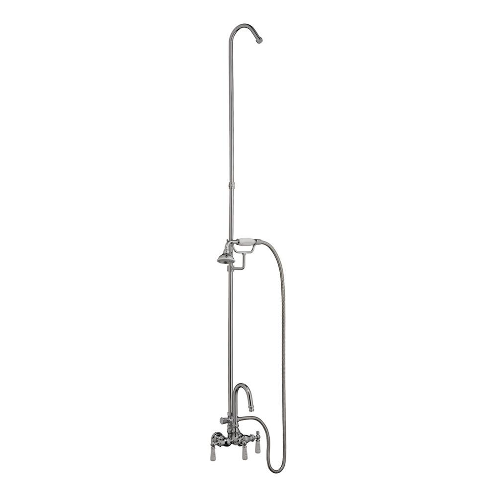 Pegasus 3-Handle Claw Foot Tub Faucet with Gooseneck Spout, Riser and Hand Shower for Acrylic Tub in Polished Chrome