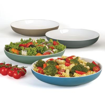 Catalina Multicolored Porcelain 9.5 in. 40 oz. All Purpose Porcelain Bowls (Set of 4)