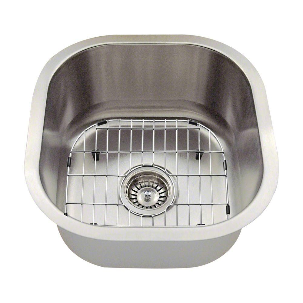 Polaris Sinks All In One Undermount Stainless Steel 16 Single Bowl Bar