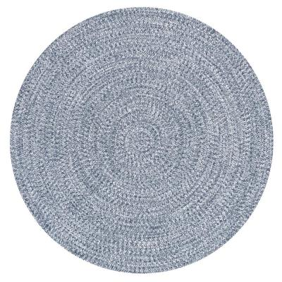 Lefebvre Casual Braided Light Blue 4 ft. Indoor/Outdoor Round Rug