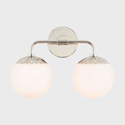 Henry 2-Light Polished Nickel Bath Light with Opal Glossy Glass Shade