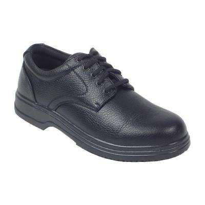 Service Black Size 8.5 Wide Plain Toe Utility Oxford Shoe for Men