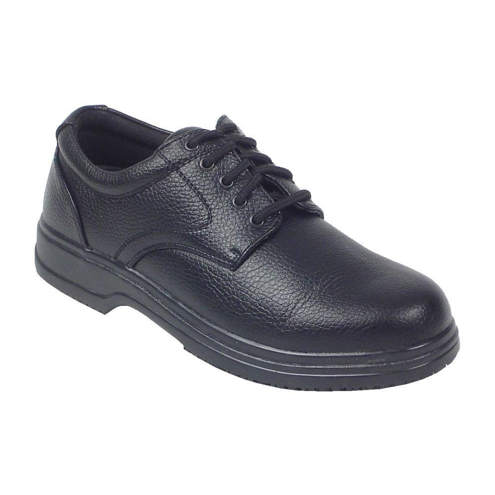 Service Black Size 9.5 Wide Plain Toe Utility Oxford Shoe for