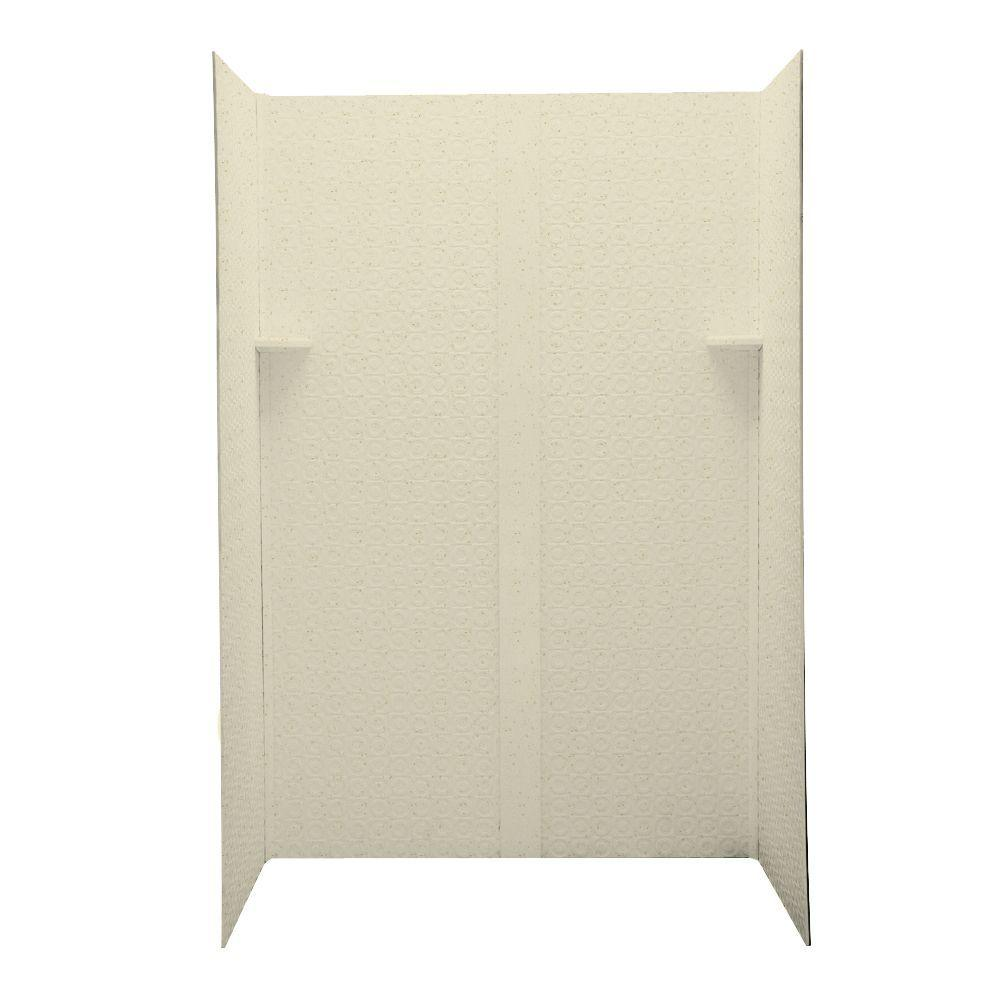 Swanstone Barcelona 32 in. x 48 in. x 72 in. Four Piece Easy Up Adhesive Shower Wall Kit in Caraway Seed-DISCONTINUED