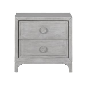 Boho Chic 2-Drawer Washed White Nightstand 27 in H x 28 in W x 18 in D