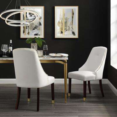 Cora White/Gold PU Leather Metal Tip Leg Dining Chair (Set of 2)