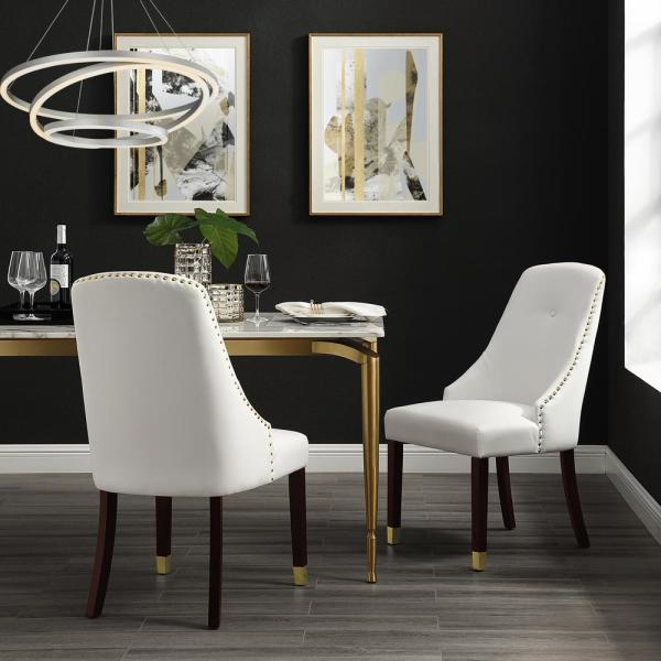 Inspired Home Cora White/Gold PU Leather Metal Tip Leg Dining Chair