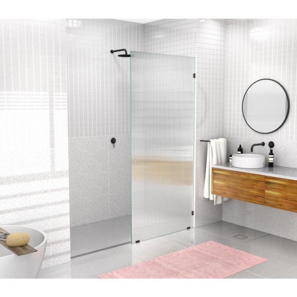 36 in. W x 78 in. H Fixed Single Panel Frameless Shower Door in Matte Black with Fluted Frosted Glass