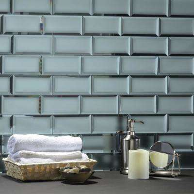 Reflections Graphite Blue Beveled Subway 3 in. x 6 in. Matte Glass Mirror Peel & Stick Wall Tile (14 Sq.Ft./Bx)