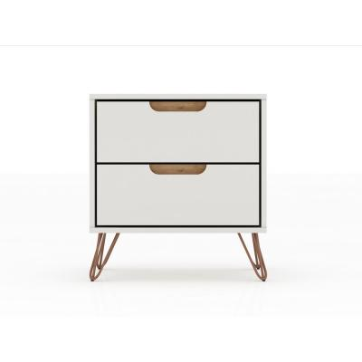 Intrepid 2.0 Off White And Nature Mid-Century Modern 2-Drawer Nightstand
