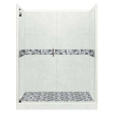 Newport Grand Hinged 30 in. x 60 in. x 80 in. Left Drain Alcove Shower Kit in Natural Buff and Chrome