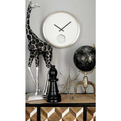 Modern White Gear Cut-Out Wall Clock