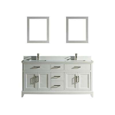 Genoa 72 in. W x 22 in. D x 36 in. H Bath Vanity in White with Vanity Top in White with White Basin and Mirror