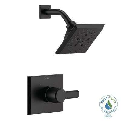 Pivotal 1-Handle Wall-Mount Shower Trim Kit with H2Okinetic Technology in Matte Black (Valve Not Included)