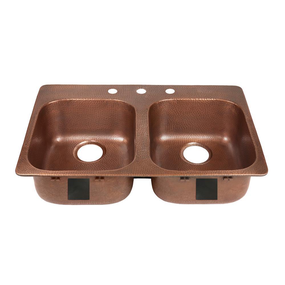 SINKOLOGY Santi Drop-In Handmade Pure Solid Copper 33 in. 3-Hole 50/50 Double Bowl Copper Kitchen Sink in Antique Copper
