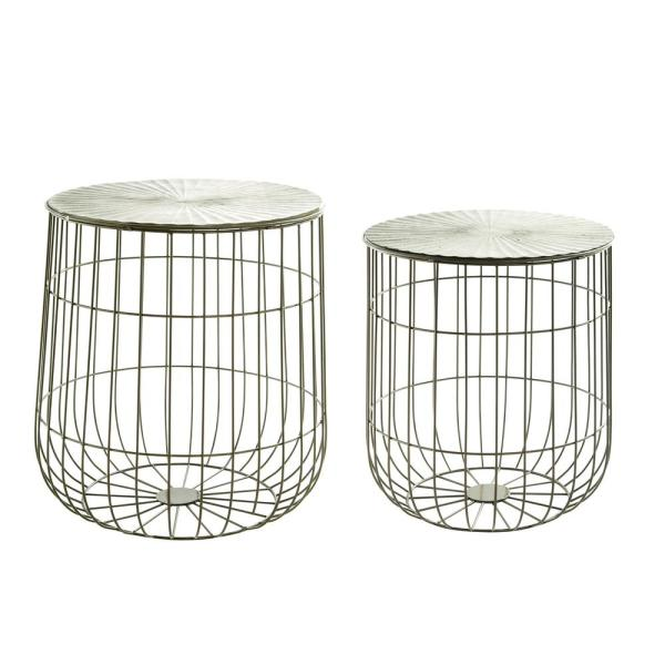 Metal Decorative Baskets with Lids (Set of 2)
