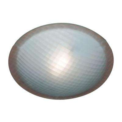 1-Light Ceiling Light White Chequered Glass Flush Mount
