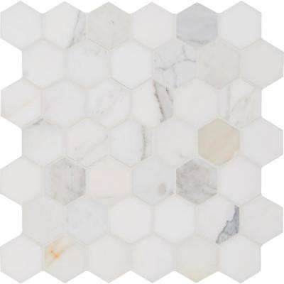Calacatta Gold Hexagon 12 in. x 12 in. x 10mm Polished Marble Mesh-Mounted Mosaic Tile (10 sq. ft. / case)