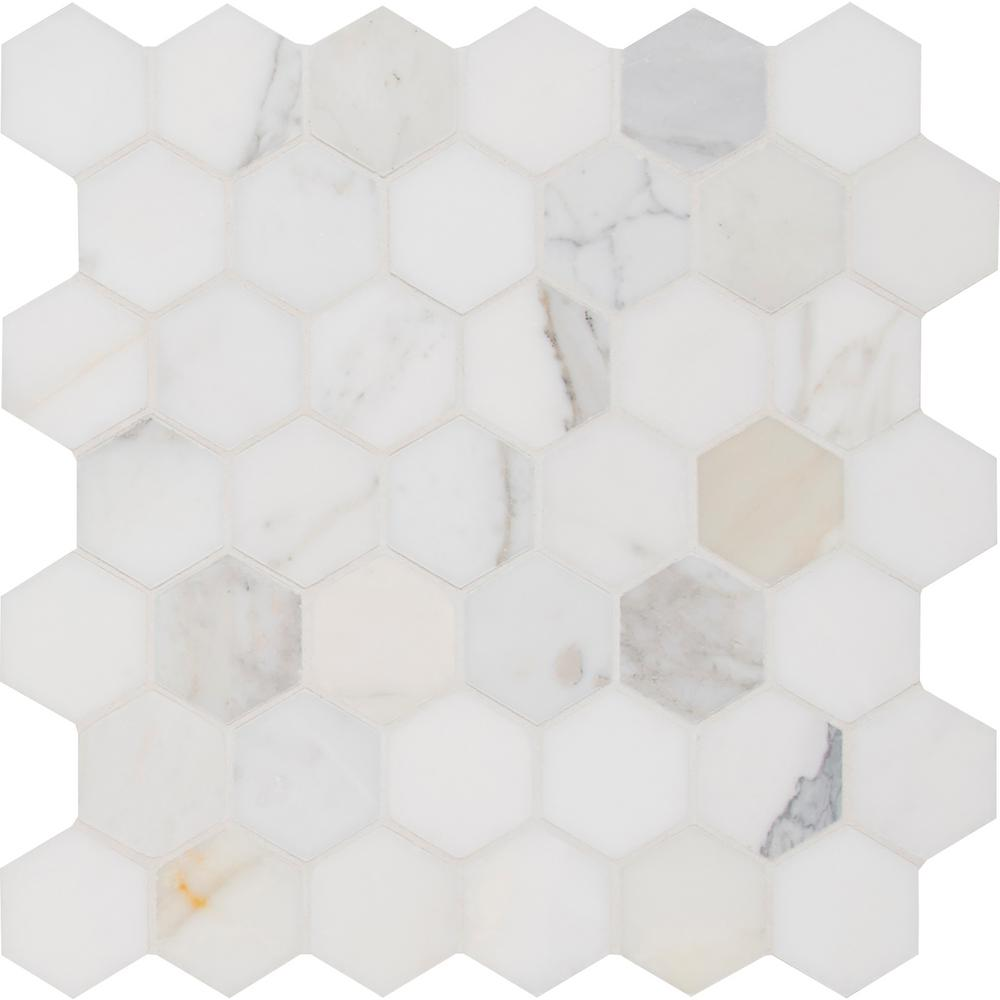 MSI Calacatta Gold Hexagon 12 in. x 12 in. x 10mm Polished Marble Mesh-Mounted Mosaic Tile (10 sq. ft. / case)