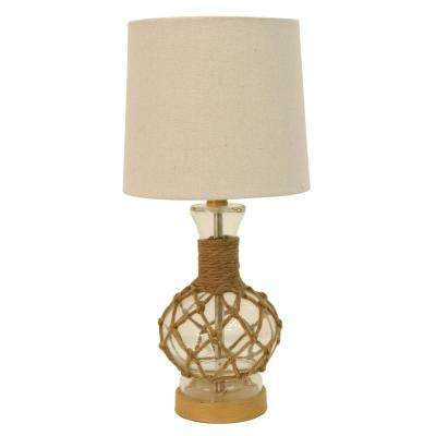 Coastal Rope 19.25 in. Clear Table Lamp with Shade