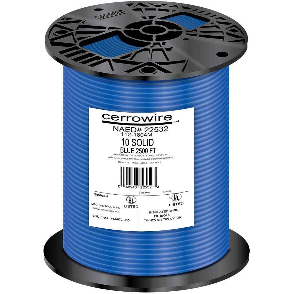 Cerrowire 2500 ft. 10-Gauge Blue Solid THHN Wire-112-1804M - The ...