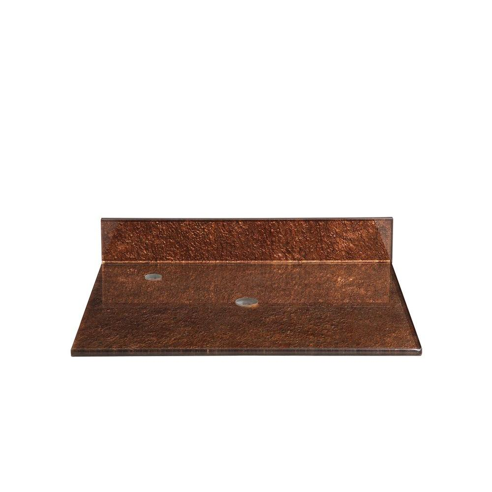 Hembry Creek Reflex Storm 31 in. Tempered Glass Vanity Top in Copper Gray without Basin