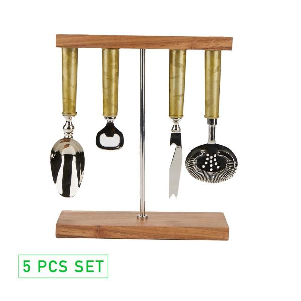 Mind Reader Galvanized Bar Set with Organizer Stand for Perfect Bartending Kit Silver 4-Piece Bar Set Stand