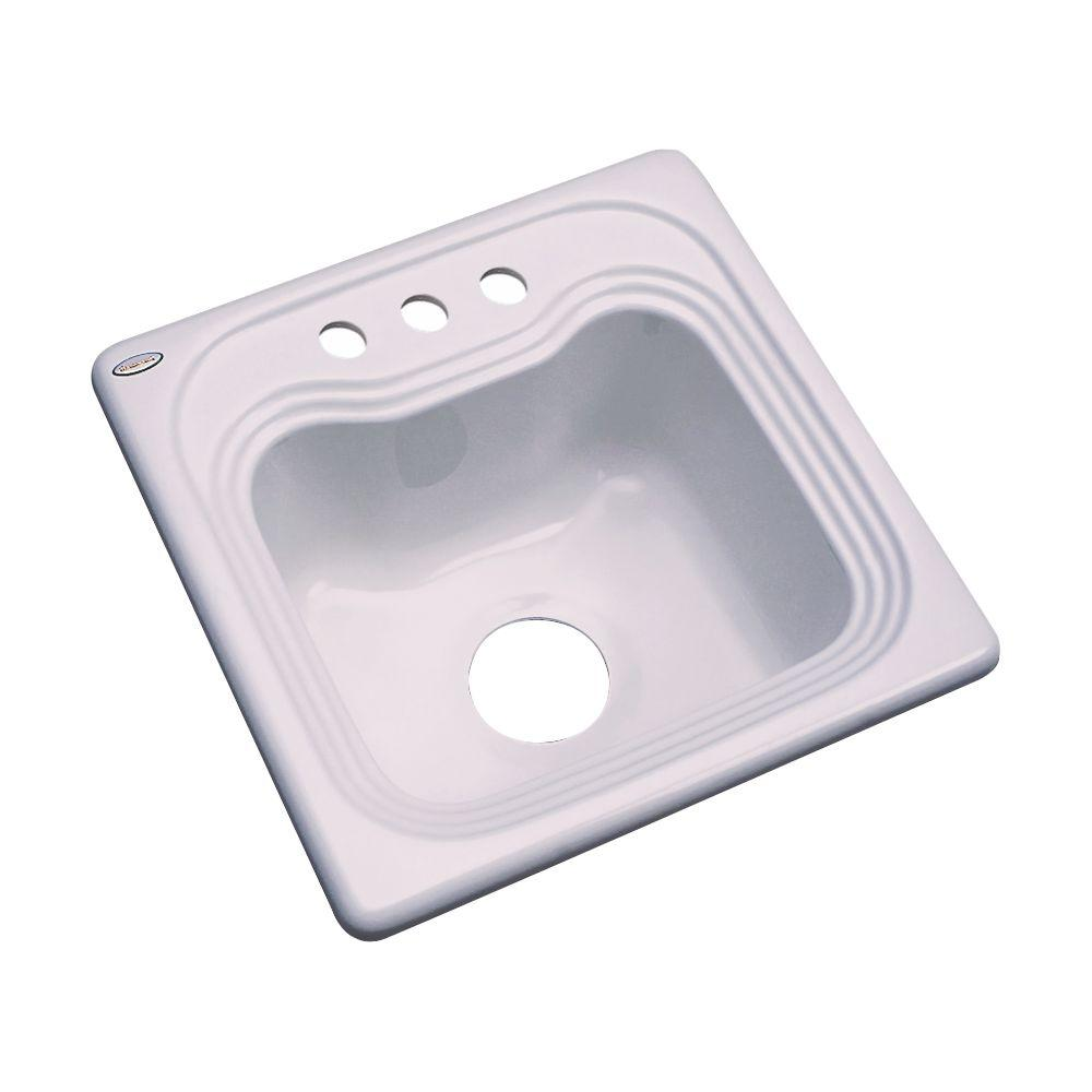 Thermocast Oxford Drop-In Acrylic 16 in. 3-Hole Single Bowl Kitchen Sink in Innocent Blush
