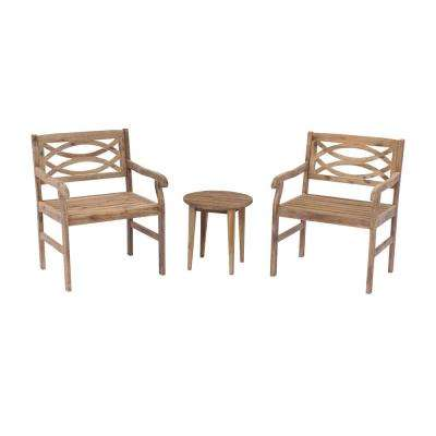 Fontana 3-Piece Wood Outdoor Bistro Set