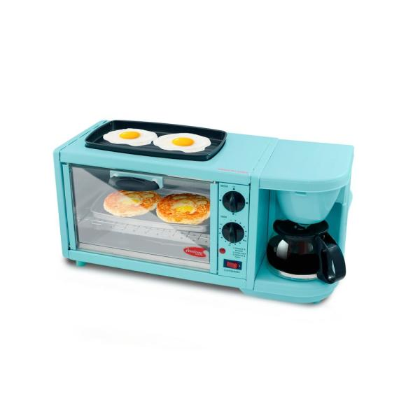 Americana Blue 3-in-1 Deluxe Breakfast Station Toaster Oven EBK-300BL